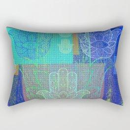 Moroccan Motif Hamsa Mosaic Rectangular Pillow