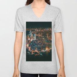 City of Lights New York City (Color) Unisex V-Neck