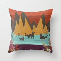 wolves Throw Pillows featuring Wolves by Kakel