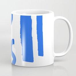 Brush Stroke Minimal 19 - Abstract Pattern Shapes Modern Mid Century Texture Blue. Gift idea Home deco Coffee Mug