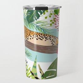 Lazy Jungle Cat, Bold Colorful Botanical Abstract Travel Mug