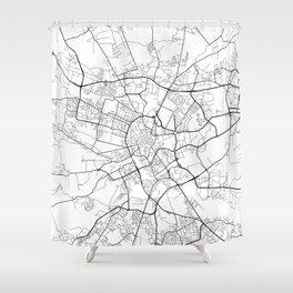 Krakow Map, Poland - Black and White Shower Curtain
