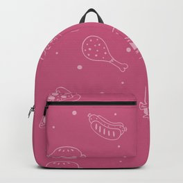 Fast Food Snacks Attack - Pizza Pie Hot Dogs Chicken Wings! on Pink Backpack