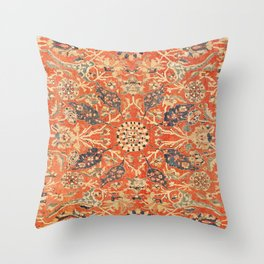 Antique Persian Sultanabad Rug Print Throw Pillow