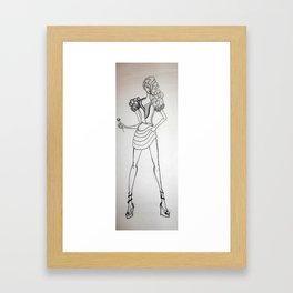 Fashion sketch 4. Singer in B&W Framed Art Print