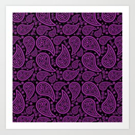Paisley (Purple & Black Pattern) Art Print