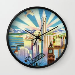 Pacific Northwest Seattle Washington Art Deco Advertising Portrait Wall Clock