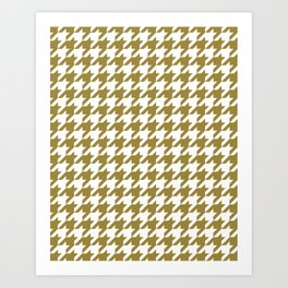 Classic Houndstooth Pattern in Dark Gold / Bronze and White Art Print