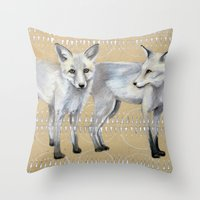 foxes Throw Pillows featuring foxes by Ashley White Jacobsen