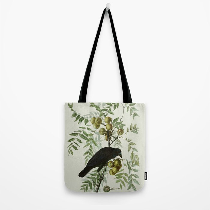 Vintage Crow Illustration Tote Bag