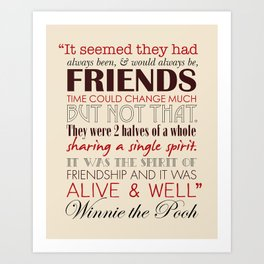 Winnie the Pooh Friendship Quote - Tan & Red Art Print