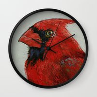cardinal Wall Clocks featuring Cardinal by Michael Creese