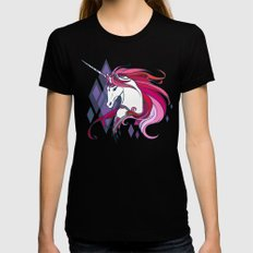 Pink Unicorn Black Womens Fitted Tee SMALL