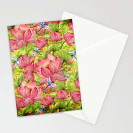 Floral Lotus Flowers Pattern with Dragonfly Stationery Cards