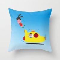 submarine Throw Pillows featuring Submarine by Alfonnew Shop