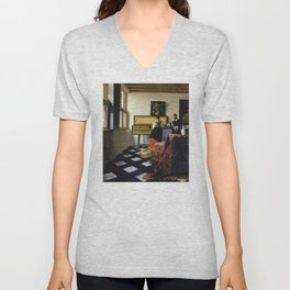Johannes Vermeer  - The Music Lesson Unisex V-Neck