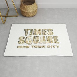 Times Square New York City (golden glow on white) Rug