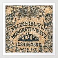 ouija Art Prints featuring Ouija Board by ezmaya