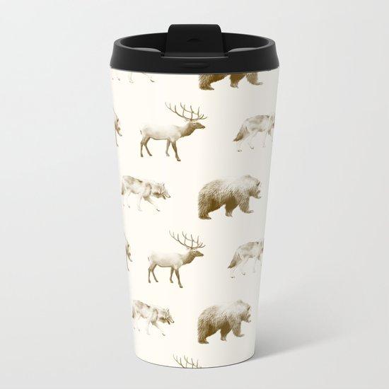 Wild Pattern // Brown Metal Travel Mug