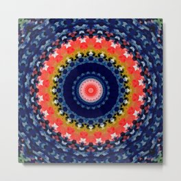 Multi-colored mandala, kaleidoscope, blue mandala Metal Print