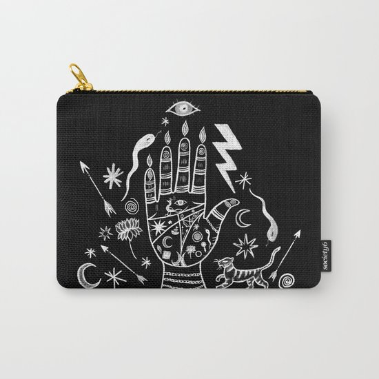 Spiritual Hand Black and White Carry-All Pouch