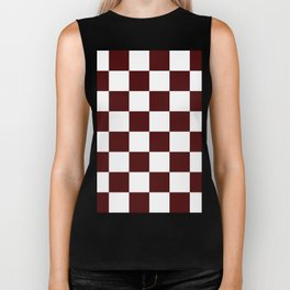 Large Checkered - White and Bulgarian Rose Red Biker Tank
