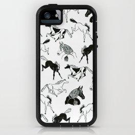 horses b&w iPhone Case