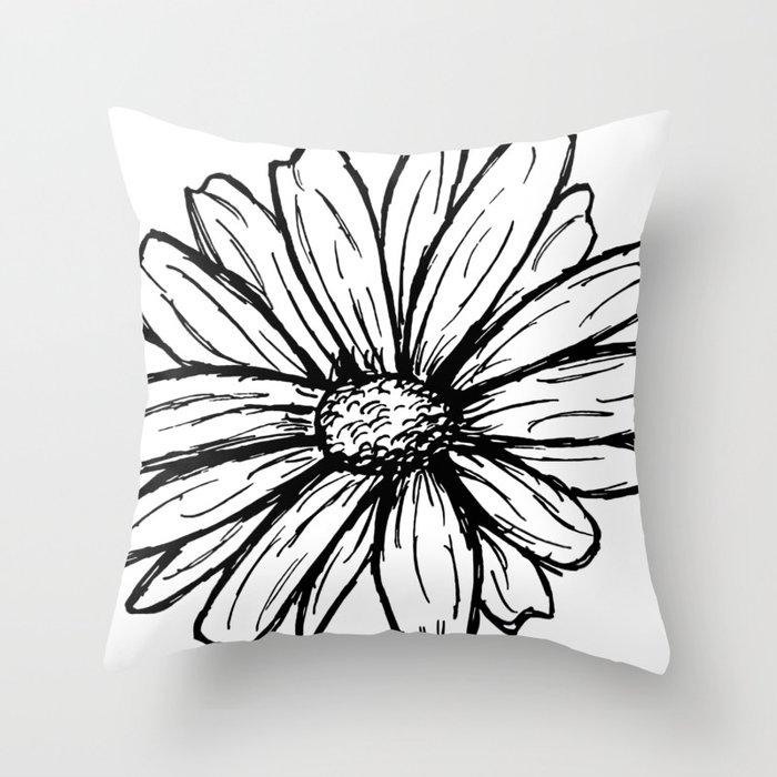 Daisy Floral Modern Line Art Throw Pillow