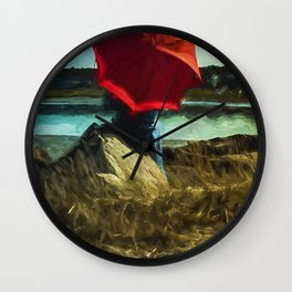 Girl with Red Umbrella Wall Clock