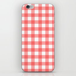 Red gingham fabric cloth, seamless pattern iPhone Skin