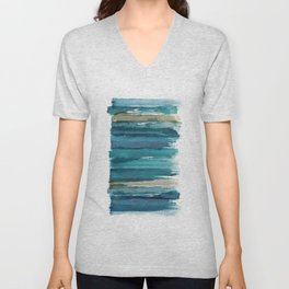 Abstract Watercolor Brush Style Unisex V-Neck