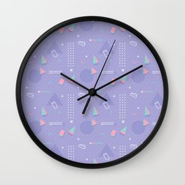 Retro geometrical lavender purple coral teal 80's pattern Wall Clock