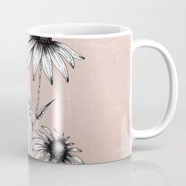 Wildflowers Ink Drawing | Dusty Pink Coffee Mug
