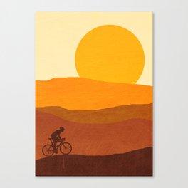 Cyclist Mountains Canvas Print