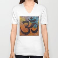 om V-neck T-shirts featuring Om by Michael Creese