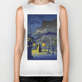 Japanese Woodblock Print Vintage Asian Art Colorful Woodblock Prints Shrine At Night Lantern Biker Tank