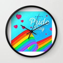 LGBT, Gay and Lesbian Quotes, Designs of Rainbows Flags and Hearts (24) Wall Clock