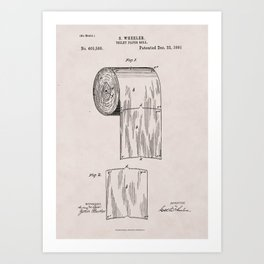 Original Toilet Paper U.S. Patent No. 465,588 by Seth Wheeler (Dec. 22, 1891) Art Print
