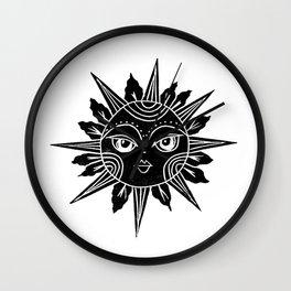 Linocut sun moon face black and white illustration Wall Clock