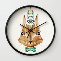 squirrel Wall Clocks featuring squirrel by Manoou