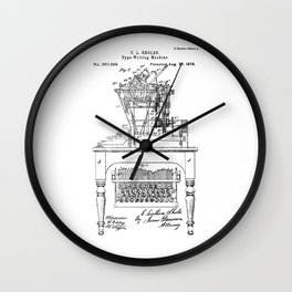 QWERTY Typewriter: Christopher Latham Sholes QWERTY Typewriter Patent Wall Clock