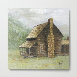 Log Cabin in Smokies Metal Print