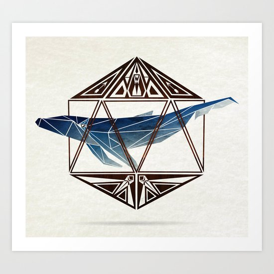 whale in the icosahedron Art Print