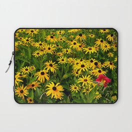 Yellow Flowers Black Eyed Susan and Red Laptop Sleeve
