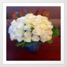 White roses in a blue vase  Art Print