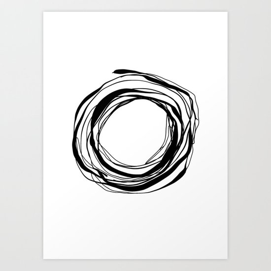 Abstract Line No.17 Black and White Art Print
