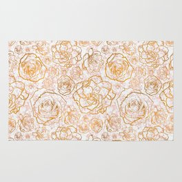 Gold Florals on Pink Marble Rug