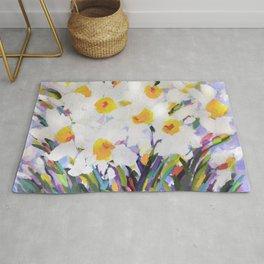 White Daffodil Meadow Rug
