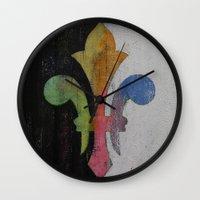 fleur de lis Wall Clocks featuring Fleur de Lis by Michael Creese