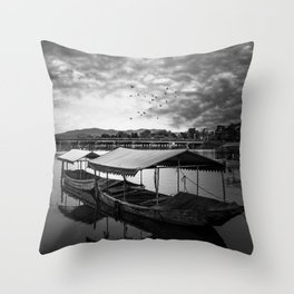 Boat on Water (Black and White) Throw Pillow